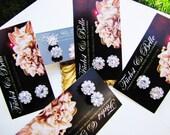 Set of 5 pairs of wedding stud earrings - Round solitary rhinestones diamond look alike stud bridal earrings