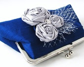 Royal blue evening clutch purse, something blue clutch for the bride, wedding purse with silver rosettes and rhinestone in dupioni silk