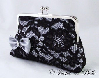 Silver lace bridal clutch / wedding clutch / Silver satin bow bridesmaids black lace - Ready to ship