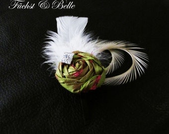 Olive Green Bridal Fascinator, Wedding Headpiece - Silk rosette with Ivory goose feathers and rhinstone
