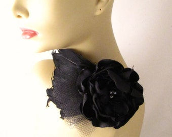 Black flower feather headband