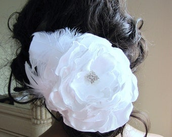 White satin rose with feather and rhinestone bridal fascinator - Rosie