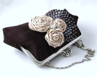 Dark brown silk clutch with champagne rosettes,  bridal clutch, Unique evening purse - Mocha brown
