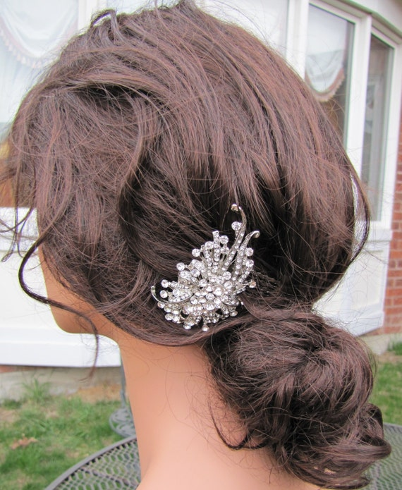 Victorian Style Wedding Hair: Victorian Bridal Hair Comb, Rhinestones Brooch Wedding