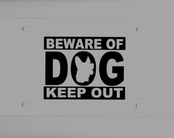 "Vinyl wall window art -- Beware of Dog  -- 4"" long x 3"" tall   Home security decal x 4"