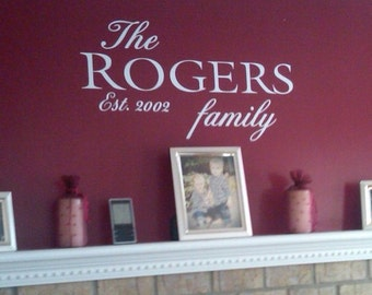 Vinyl wall art -- The Family established year -- you pick size -- family wall decal sticker