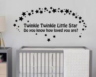 """Twinkle Twinkle little star Wall Art Decal sticker  42"""" long wall art  All colors available babys room"""