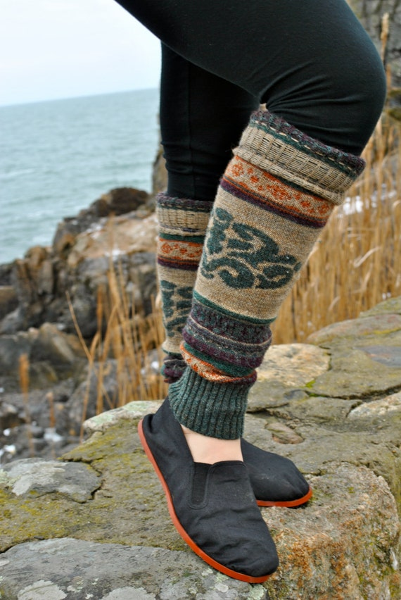 Comfy Cozy Eco Friendly Upcycled Leg Warmers in Green Wintery Colors