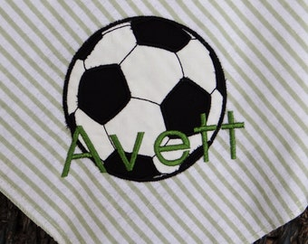 Soccer Ball Personalized Sports Theme Baby Receiving/Swaddle Blanket