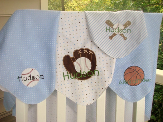 Personalized Sports Theme Baby Swaddle Receiving Blanket