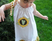 Monogram Pillowcase Dress Sunflower Personalized Big Little Sister ..Great for Twins Girls size 12-18 mon 2T 3T 4T 5T