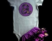 Monogram Onesie Personalized  Ruffle Butt Diaper Cover and Flower headband ..Baby Girl Gift Set..Great for Twins
