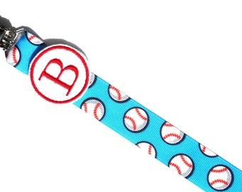 Monogram Pacifier Clip for Baby Boy Baseball Paci Clip for all pacifiers you pick Soothie, Nuk, Mam Avent ect.