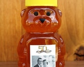 Easy to personalize Qty of 50 Cute little Honey Bears filled with 2 oz. raw  Wildflower Honey, Wedding or Shower Favor