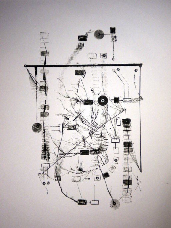 """Acrylic&ink painting """"System"""""""