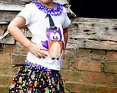 Limited Edition Original Monkey Tees  Hoot for Halloween Top and Twirl Skirt--
