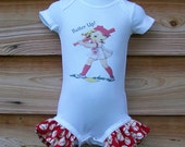 Vintage Childrens Onesie Ruffled Legs-  Batter Up--Size 3 mos up to 24 mos
