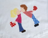 """Anniversary Kitchen Towel: """"First Kiss"""" -  Applique on White Cotton Huck Towel"""