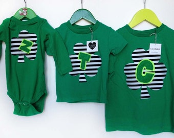 St. Patrick's Day Green Shamrock T Shirt - Stripes, Initial for kids and babies
