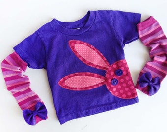 Easter Bunny Rabbit T Shirt With Hand Dyed Baby Leg / Arm Warmers with Felt Bow
