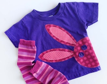 Easter Bunny Rabbit T Shirt With Hand Dyed Baby Leg / Arm Warmers