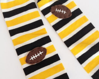 Football Baby Leg Warmers: yellow gold, black and white stripes with footballs - Snack Size Leg Candy