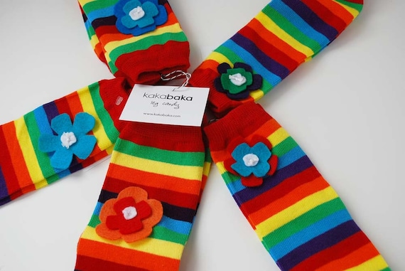 Newborn Rainbow Flower Baby Leg Warmers: flowers on rainbow striped leg candy