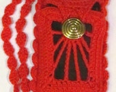 Red Crochet Smart Phone Pouch for Androids & IPhones by Elena Roche OOAK