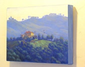 Blue Oil Painting, Landscape Painting, Classic Painting, California Landscape, Plein Air Painting, Topanga Canyon Painting by Elena Roché