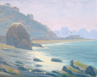 Original Painting in oil portraying a beach near Getty Villa in Southern California, plein air painting by Elena Roche