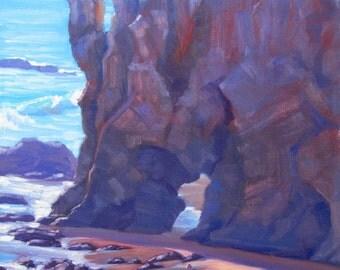 Seascape Painting, Towering El Matador, Malibu, California, original plein air painting by Elena Roché