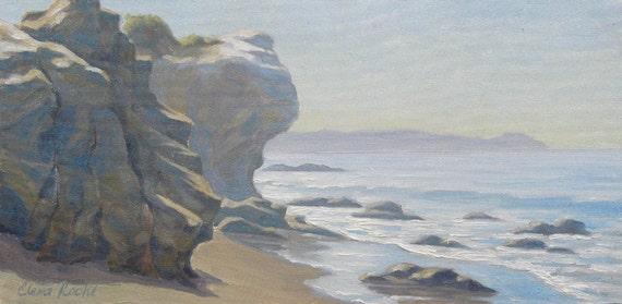 Traditional Art Oil Painting California Malibu beach small size classic plein air artwork by Elena Roche