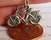 Vintage Sterling Silver 1940s Bike Bicycle with Fenders Bracelet Charm, Must see