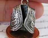 Vintage Sterling Silver Bracelet Charm, Southwest Western Vest, Detailed