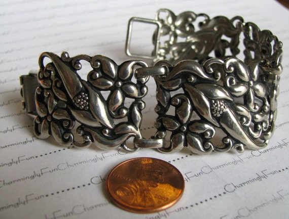 Reserved for Cheryl Reserved Vintage Silver Tone Wide Flower Bracelet, Beautiful