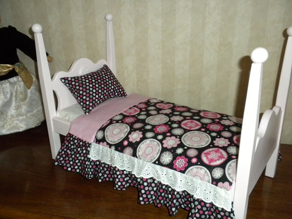 Pink 4 Poster Doll Bed With Bedding For The American Girl