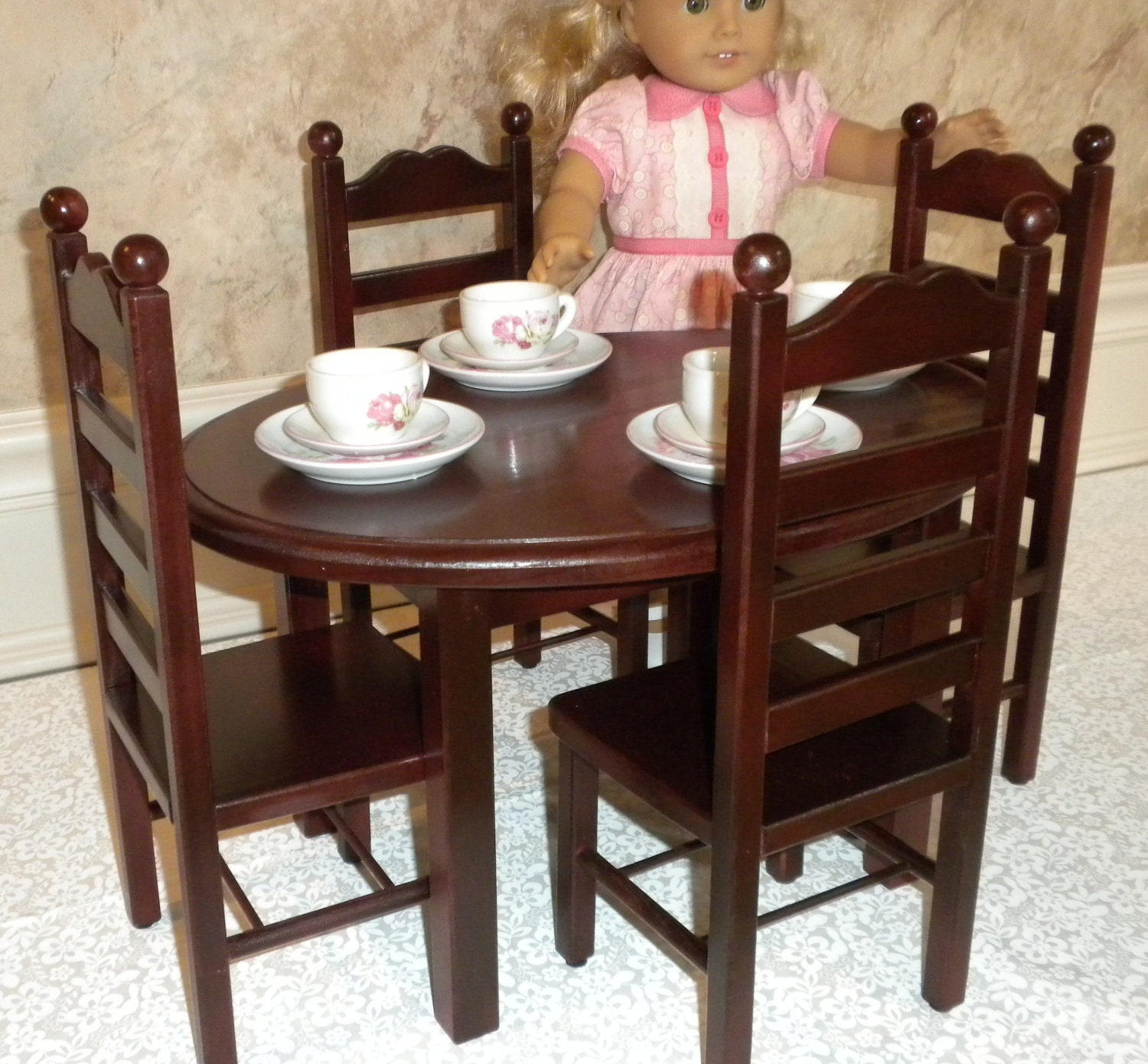 historical oval table and 4 chair set american girl doll or. Black Bedroom Furniture Sets. Home Design Ideas