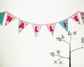 Custom  Birthday  Banner, Fabric Party Flags with Handsewn Letters, Nursery Decoration, Photo Props