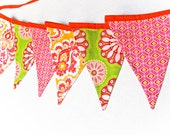 Birthday Party Banner, Nursery Decor,  Baby Shower Decoration, Photo Prop, Pink Green