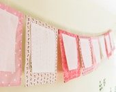 Wish Flag Banner, Pink Baby Girl Shower Decoration, Mother Blessing Bunting, Shabby Cottage Banner