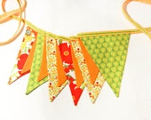 Fabric Banner, Wedding Bunting, Photo Prop, Party Decoration, Orange Green Garland