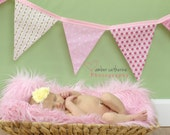 Baby Girl Shower Banner, Pink Nursery Fabric Decoration, Cottage Chic Birthday Party Flags, Photo Prop Bunting