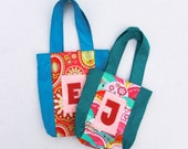 Personalized Mother Daughter Handbags - Teal Bright Pink