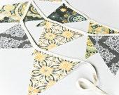 Banner Yellow Grey, Wedding Garland, Birthday Party, Bridal or Baby Shower Decoration, Photo Prop