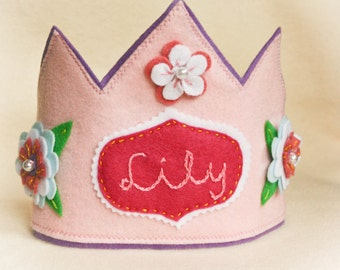 Personalized Felt Crown -Pink Fairy Princess, Costume Accessory