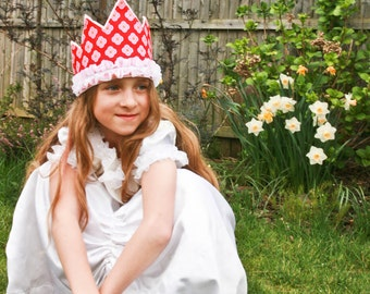 Birthday Party Crown, Tiara,  Red Pink Princess Tiara