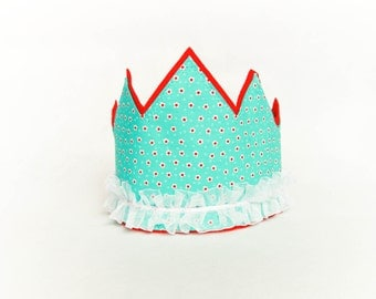 Fabric Birthday Party Crown - Aqua with Red Flowers, Princess Costume Accessory