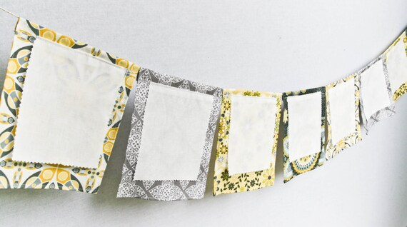 Wish Flags, Party Fabric Banner Bunting, Wedding Guest Book Alternative, Grey Yellow Garland, Baby Shower , Blessingways