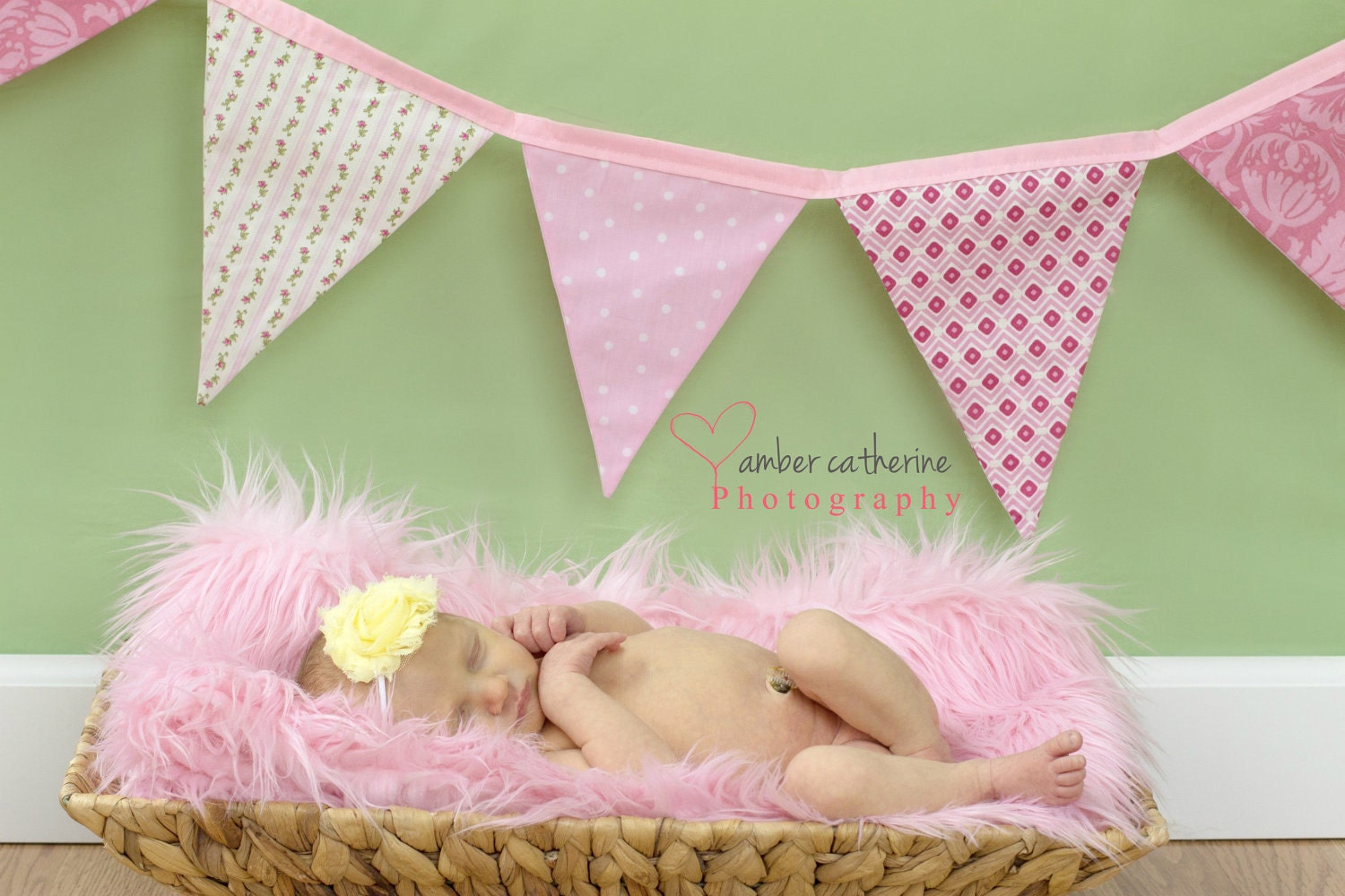 Baby girl shower banner pink nursery fabric by stitchinnetka for Baby themed fabric