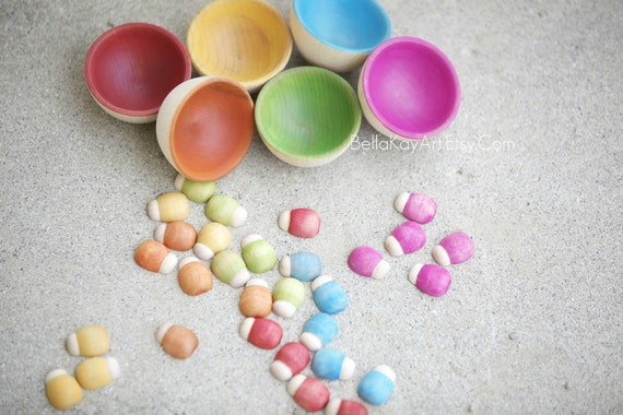 Rainbow Lady Bugs / Natural Wood Toy / Counting and Sorting Toy // Bugs N Cups